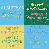 Christmas cards with texts by artistic font Stock Photo