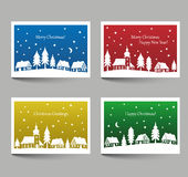 Christmas cards with village doodle Stock Photos