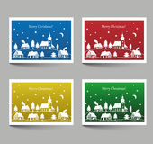 Christmas cards with village doodle Stock Image