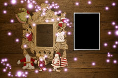 Christmas cards, vintage empty photo frame Royalty Free Stock Image