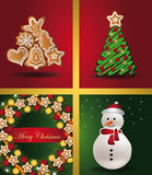 Christmas cards Windows tree gingerbread snowman w Stock Image