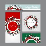 Christmas cards with winter city sketch for your Royalty Free Stock Photos