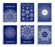 Christmas Cards With Mandala Snowflakes On Blue Background Stock Photo