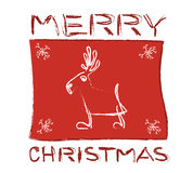 Christmas caribou. White caribou whit snowflake on the red background - illustration Stock Photo