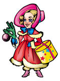 Christmas carol. Cartoon likable girl in winter clothes with a spruce sprig in a hand - in style of Dickens and his comfortable christmas histories Stock Photography