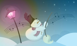 Christmas carol. Snowman dancing in a cold dicember night Royalty Free Stock Image