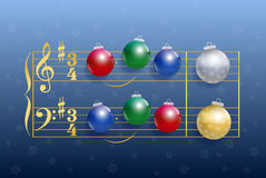Christmas Carol Balls. Christmas carol composed of colorful shiny christmas tree balls instead of notes. Isolated vector illustration on blue gradient snowfall royalty free illustration