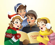 Christmas Carol. A group of teenagers singing a Christmas Carol Royalty Free Stock Image