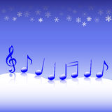 Christmas Carol Music on Snow. A winter parade of blue Christmas carol music notes on a snow background royalty free illustration