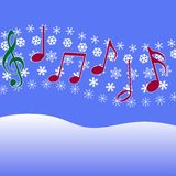 Christmas Carol Music Snow. Christmas music in the air. Musical Notes, symbol of Christmas carols and other Christmas music, on a winter snow fall stock illustration