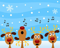 Christmas Carol with Reindeer. A group of four cute reindeer singing Christmas carols on a snowy background. Eps file available