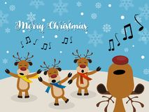 Christmas Carol with Reindeer royalty free illustration