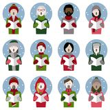 Christmas carol singer icons in the snow. Set of twelve icons of multiethnic adult christmas carol singers vector illustration