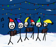 Christmas Carol singers. A child like drawing of a group of christmas carolers with lights Stock Photos