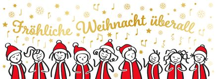 Christmas Carol singers, choir, funny men and women singing German Christmas song, stick figures in santa costumes, banner. Isolated on white background stock illustration