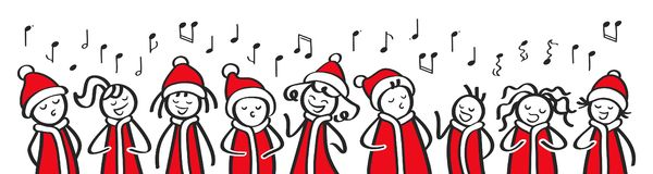 Christmas Carol singers, choir, funny men and women singing, stick figures in santa costumes sing a song, banner. Isolated on white background stock illustration