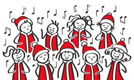 Christmas Carol singers, choir, funny men and women singing, stick figures in santa costumes sing a song. Isolated on white background vector illustration