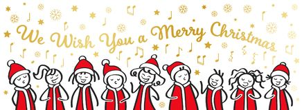 Christmas Carol singers, choir, funny men and women singing We wish you a merry Christmas, stick figures in santa costumes, banner. Isolated on white vector illustration