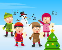 Christmas Carol on the Snow. A group of four cute kids singing Christmas carols in front of a Christmas tree. Eps file available stock illustration