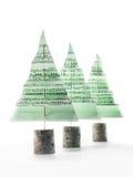 Christmas carol trees. Three green paper christmas trees with christmas carol notes over white background Royalty Free Stock Image