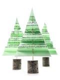 Christmas carol trees. Three green paper christmas trees with christmas carol notes over white background Royalty Free Stock Photo
