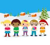 Christmas carolers. Illustration of group of children Stock Image