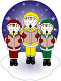 Christmas carolers. Three Christmas carolers singing in the snow Stock Photos