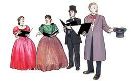 Christmas Carolers. Singing and having fun Royalty Free Stock Image