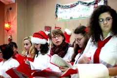 Christmas Carolers. Christmas concert held at a local church in Bucharest on December 21 Stock Photos
