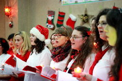 Christmas Carolers. Christmas concert held at a local church in Bucharest on December 21 Stock Image