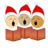 Christmas carolers illustration. Christmas carolers in red Santa caps singing illustration Royalty Free Stock Photography