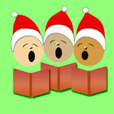 Christmas carolers illustration. Christmas carolers in red Santa caps singing illustration Royalty Free Stock Photos