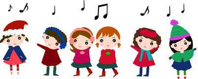 Christmas carolers. Illustration of cute group of hcristmas carolers Royalty Free Stock Photography