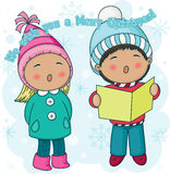 Christmas carolers. Little Christmas carolers singing outside. Nice cartoon illustration with greetings Royalty Free Stock Photo