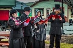 Christmas Carolers at the Strasburg Rail Road Royalty Free Stock Image