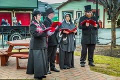 Christmas Carolers at Strasburg Rail Road Stock Photos