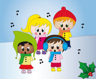 Christmas carols. Illustration of children singing Christmas carols Royalty Free Stock Image