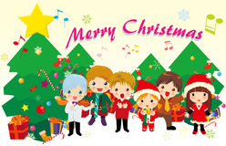 Christmas carols. Illustration of kids singing carols and christmas tree Royalty Free Stock Image