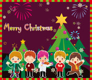 Christmas carols. Illustration of kids singing and christmas tree Stock Photos