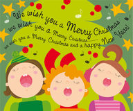 Christmas carols. Illustration of christmas tree and kids singing carols