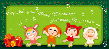 Christmas carols. Illustration of kids singing and christmas gift Royalty Free Stock Photo