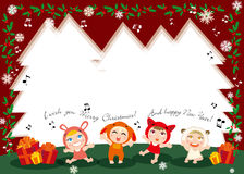 Christmas carols. Illustration of kids singing and christmas gift Royalty Free Stock Image