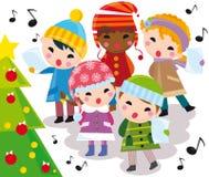 Christmas carols. Illustration of kids singing carols and christmas tree Royalty Free Stock Images