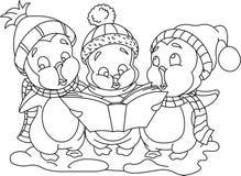 Christmas carols_bw. Cute cartoon penguins singing christmas carols Stock Images