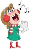 Christmas carols woman Stock Images