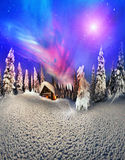 Christmas in the Carpathians vector illustration