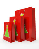 Christmas carrier paper bags Stock Photos