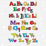 Christmas cartoon alphabet Royalty Free Stock Photography