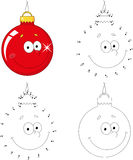 Christmas cartoon ball. Dot to dot game for kids. Christmas cartoon ball. Coloring book and dot to dot educational game for kids Royalty Free Stock Photos