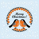 Christmas cartoon bullfinch. Vector illustration. On a blue background royalty free illustration